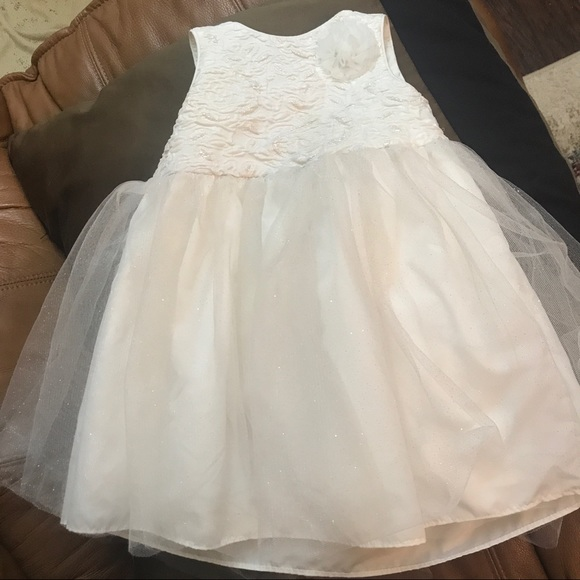 Mia & Mimi Other - Cream and Gold Glitter Flower Girl Dress